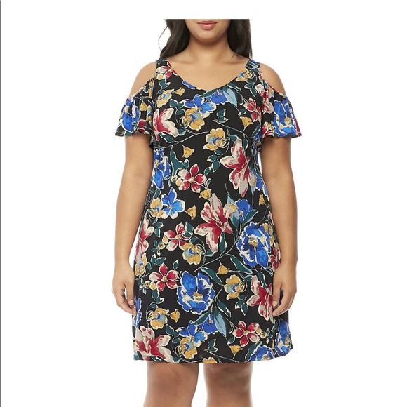 MSK Plus Size Cold-Shoulder Sleeve Floral Dress NWT